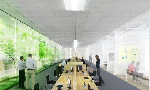A naturally lit office space with LED panels